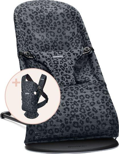 BabyBjörn Bliss Vippestol Mesh Leopard inkl. Bæresele Mini Mesh, Antracit