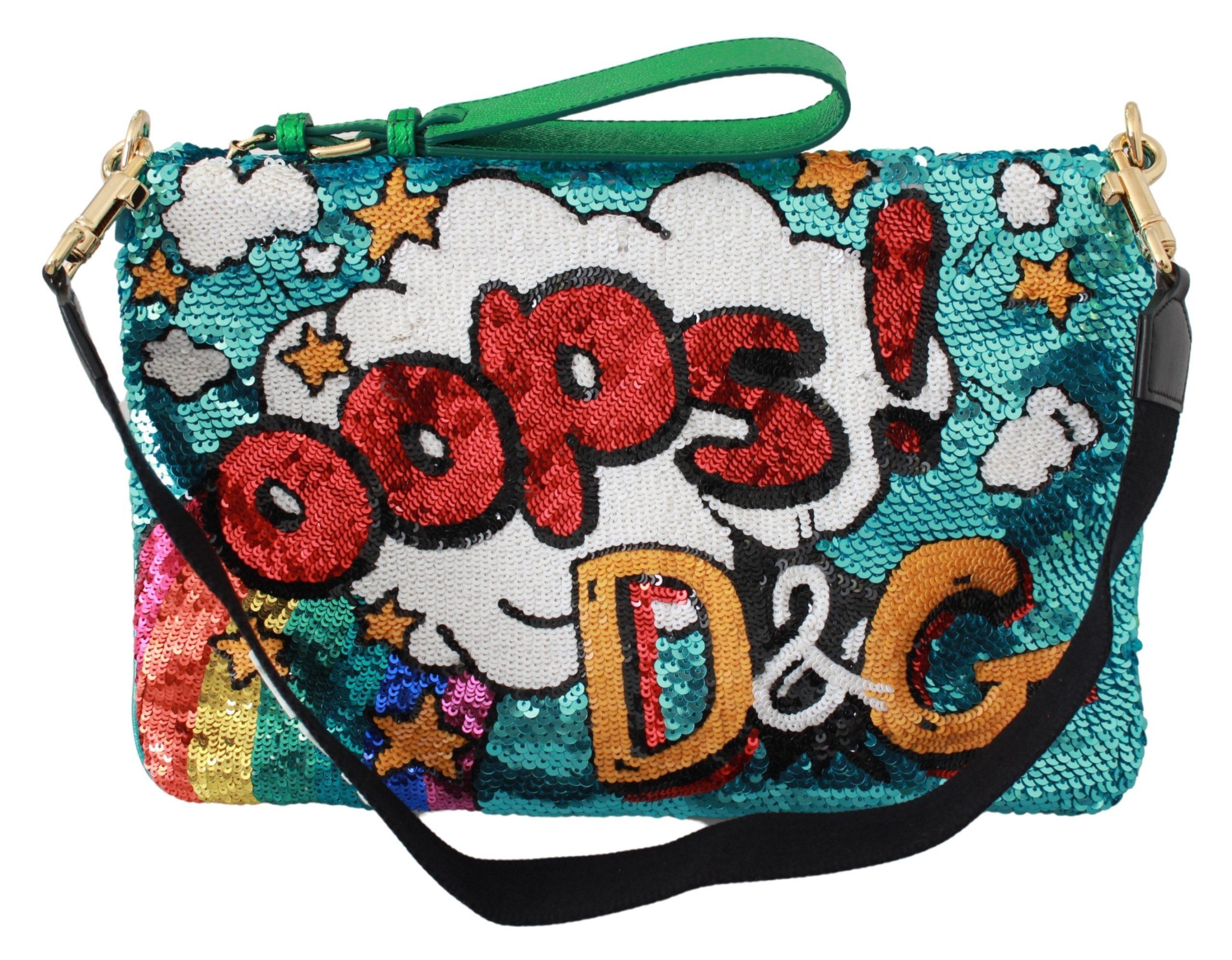 Dolce & Gabbana Women's Cartoon Sequined Clutch Bag Multicolor VAS9445