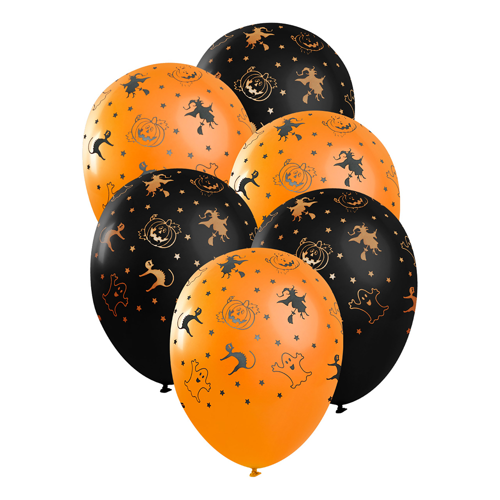 Ballonger Orange/Svart Halloween - 6-pack