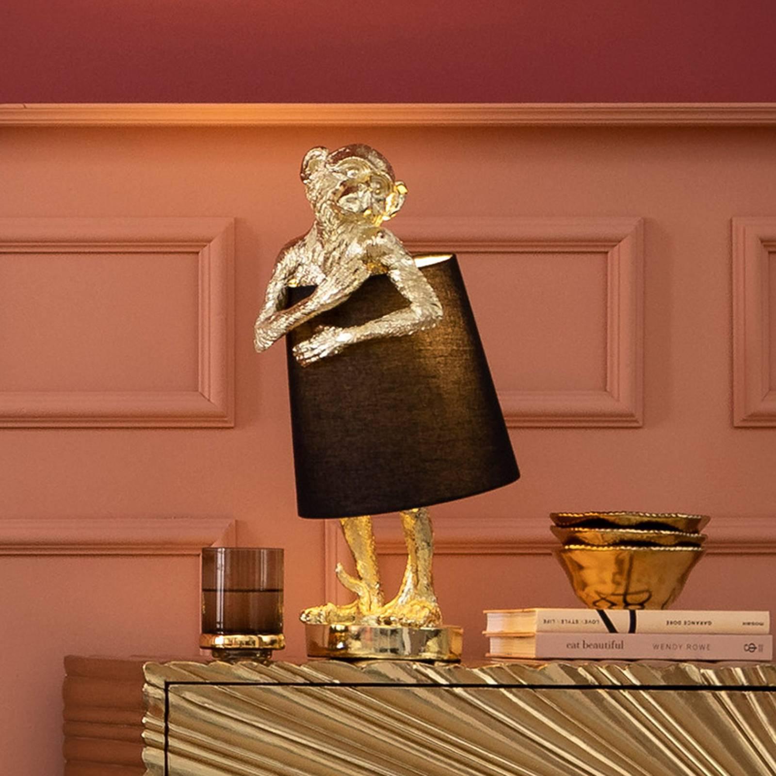 KARE Animal Monkey bordlampe svart/gull