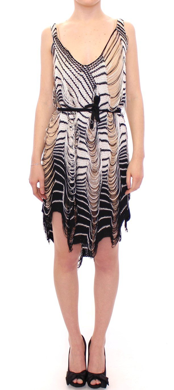Alice Palmer Women's Chainette Knit Striped Assymetrical Dress Black/White MOM10058 - S