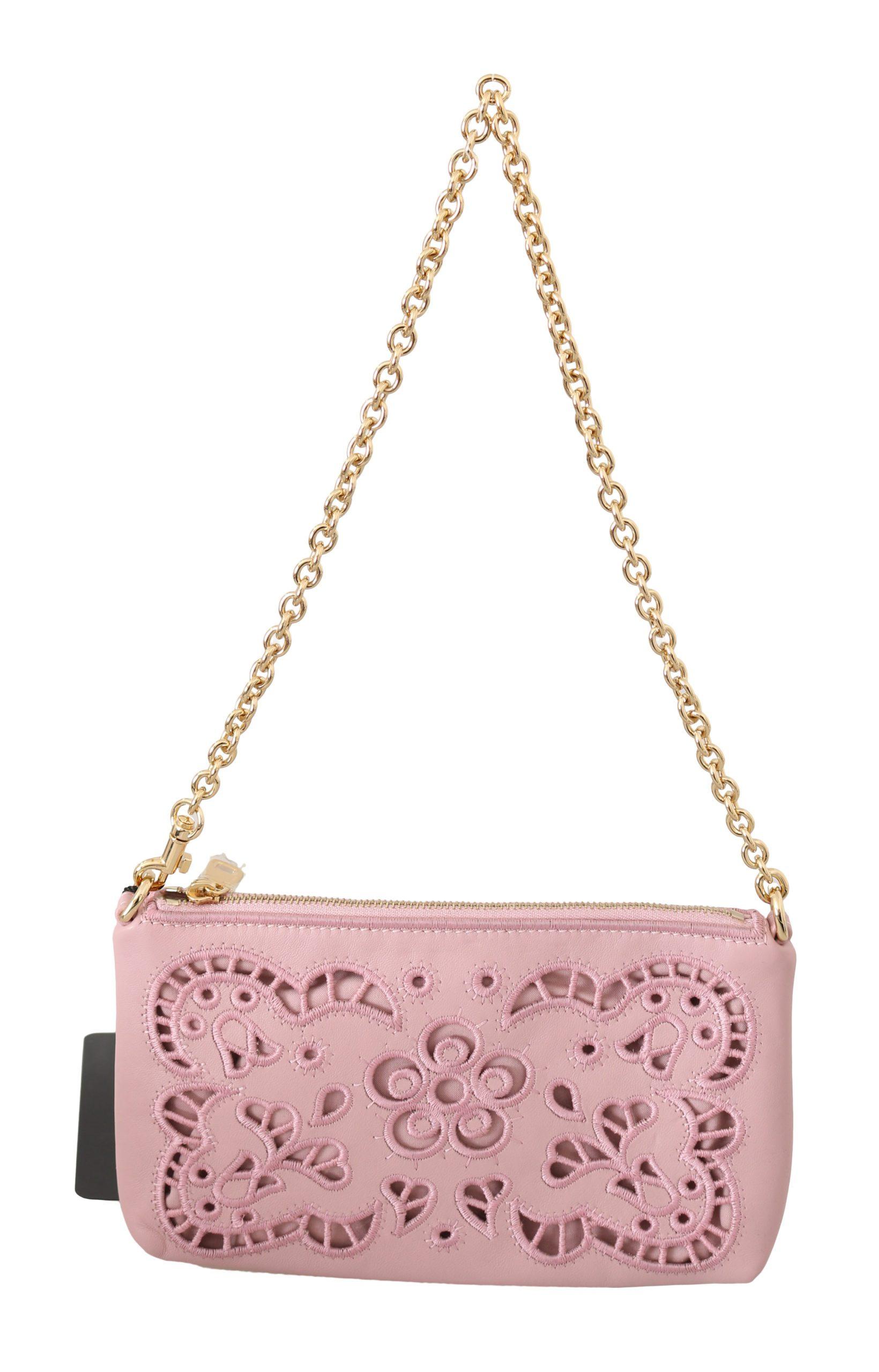 Dolce & Gabbana Women's Cutout Leather Shoulder Bag Pink VAS8867
