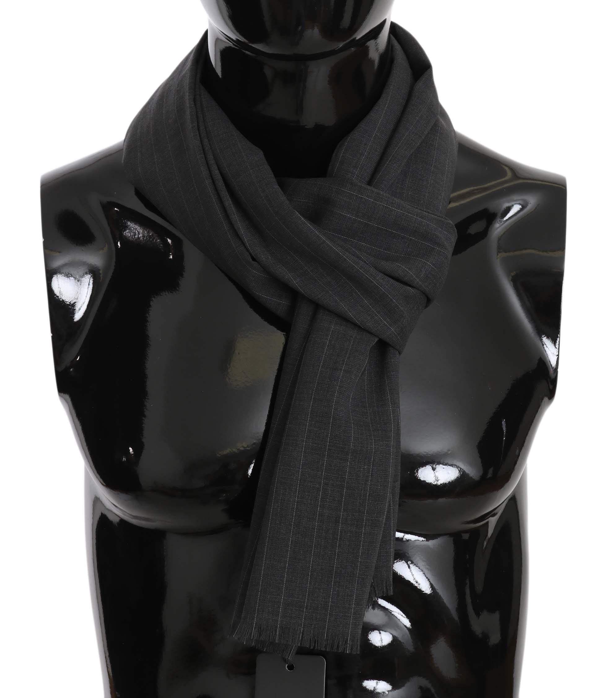Dolce & Gabbana Men's Wool White Lining Scarf Gray MS5214