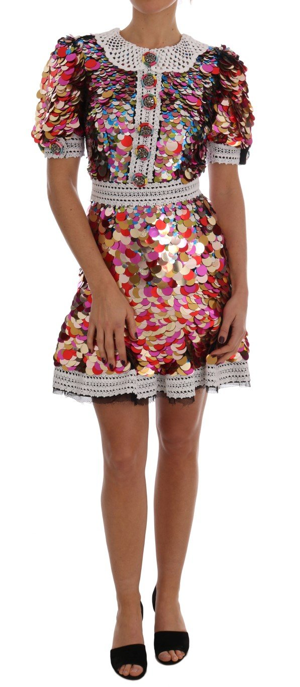 Dolce & Gabbana Women's Sequined Crepe Mini Dress Multicolor DR1371 - IT38|XS