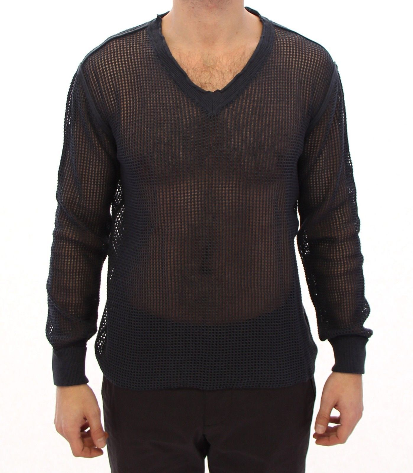 Dolce & Gabbana Men's Runway Netz Pullover Netted Sweater Blue GTH10675 - IT54   XXL