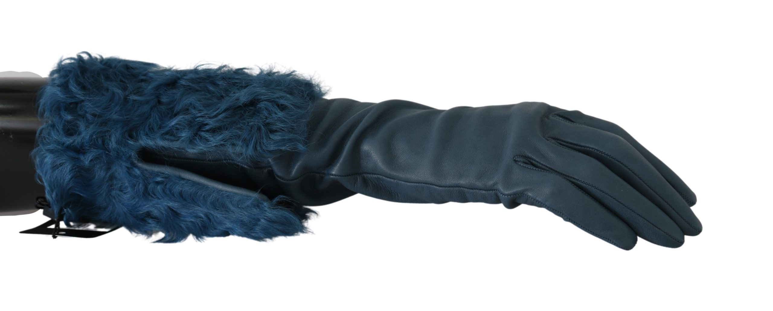 Dolce & Gabbana Women's Mid Arm Leather Shearling Fur Gloves Blue LB1010 - 7 S
