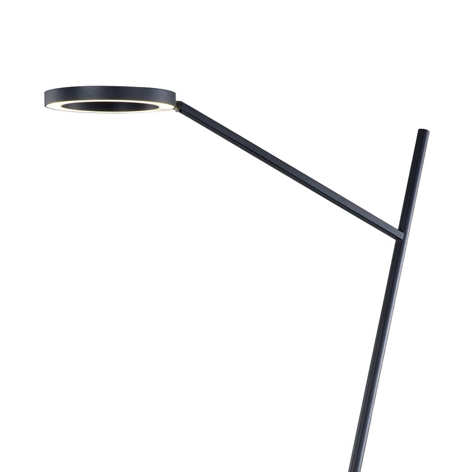 Lucande Nimbe -LED-lattiavalo, musta, himmennin