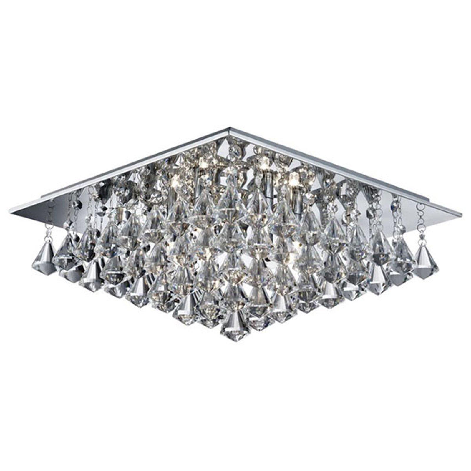 Taklampe Hanna med krystallprismer, 44 x 44 cm