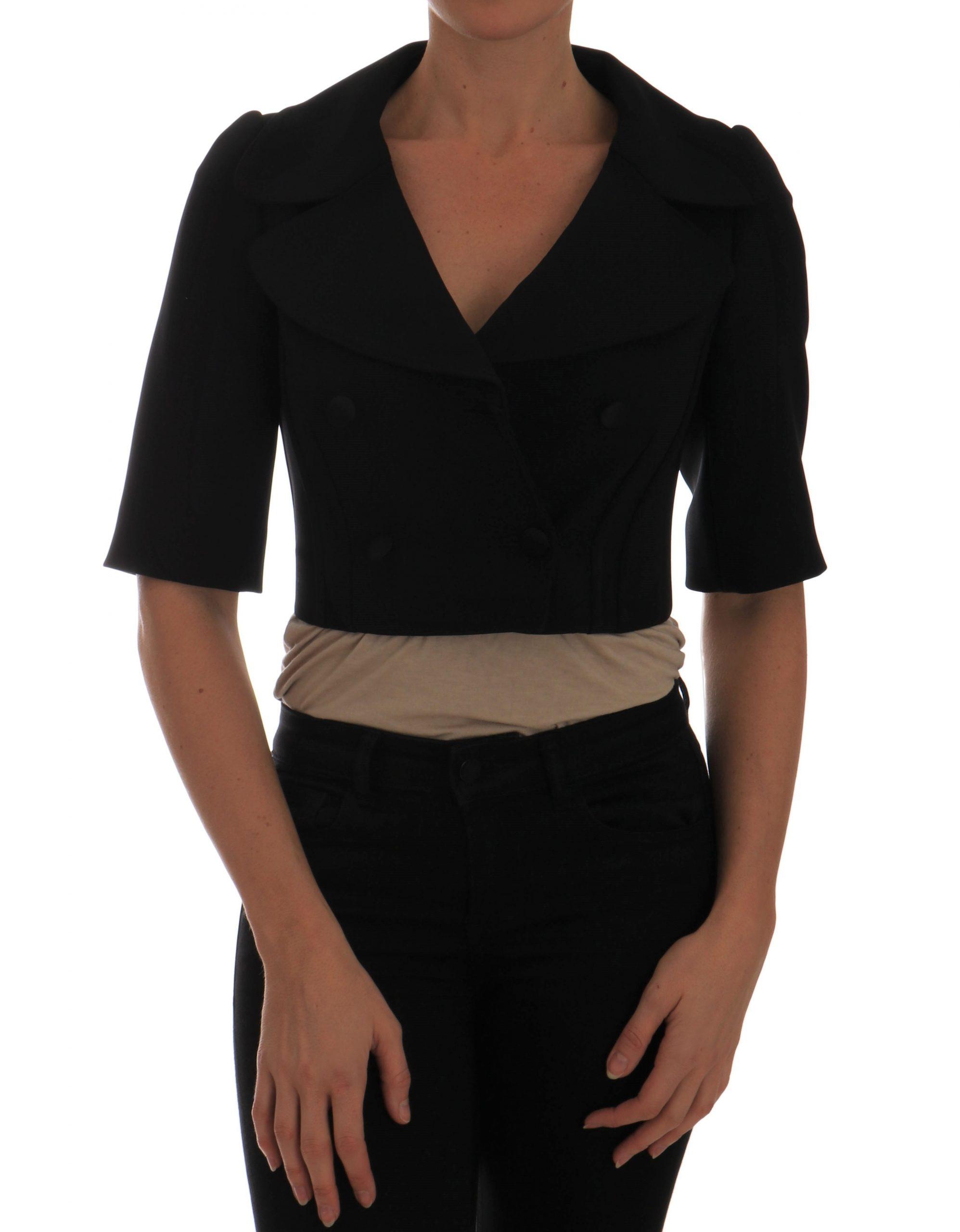 Black Short Croped Jacket Blazer - IT36 | XS