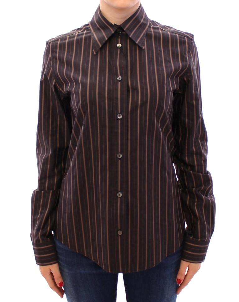 Black Striped Cotton Button Down Shirt - IT44|L