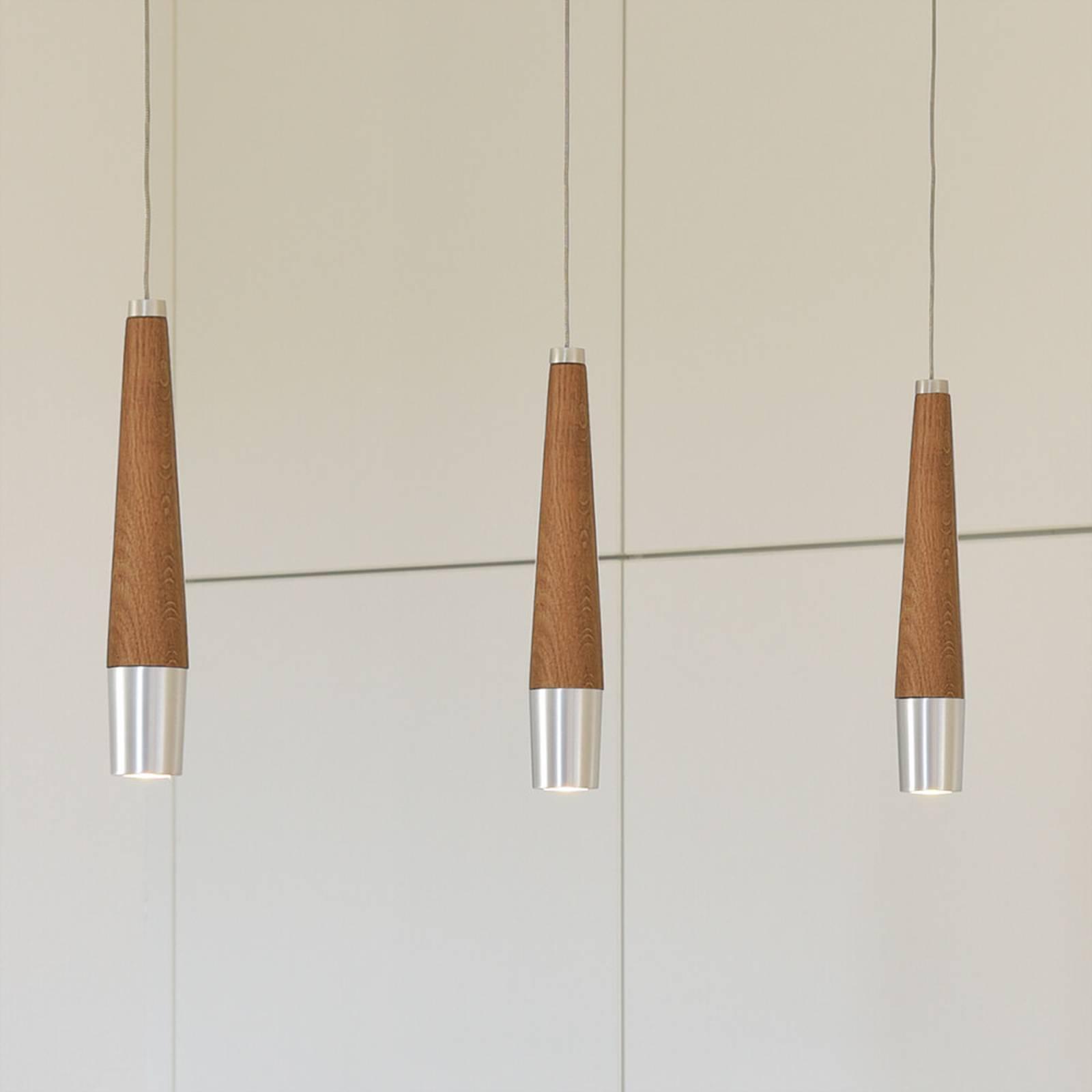 HerzBlut Conico -riippuvalo, tammi, 3-lamppuinen