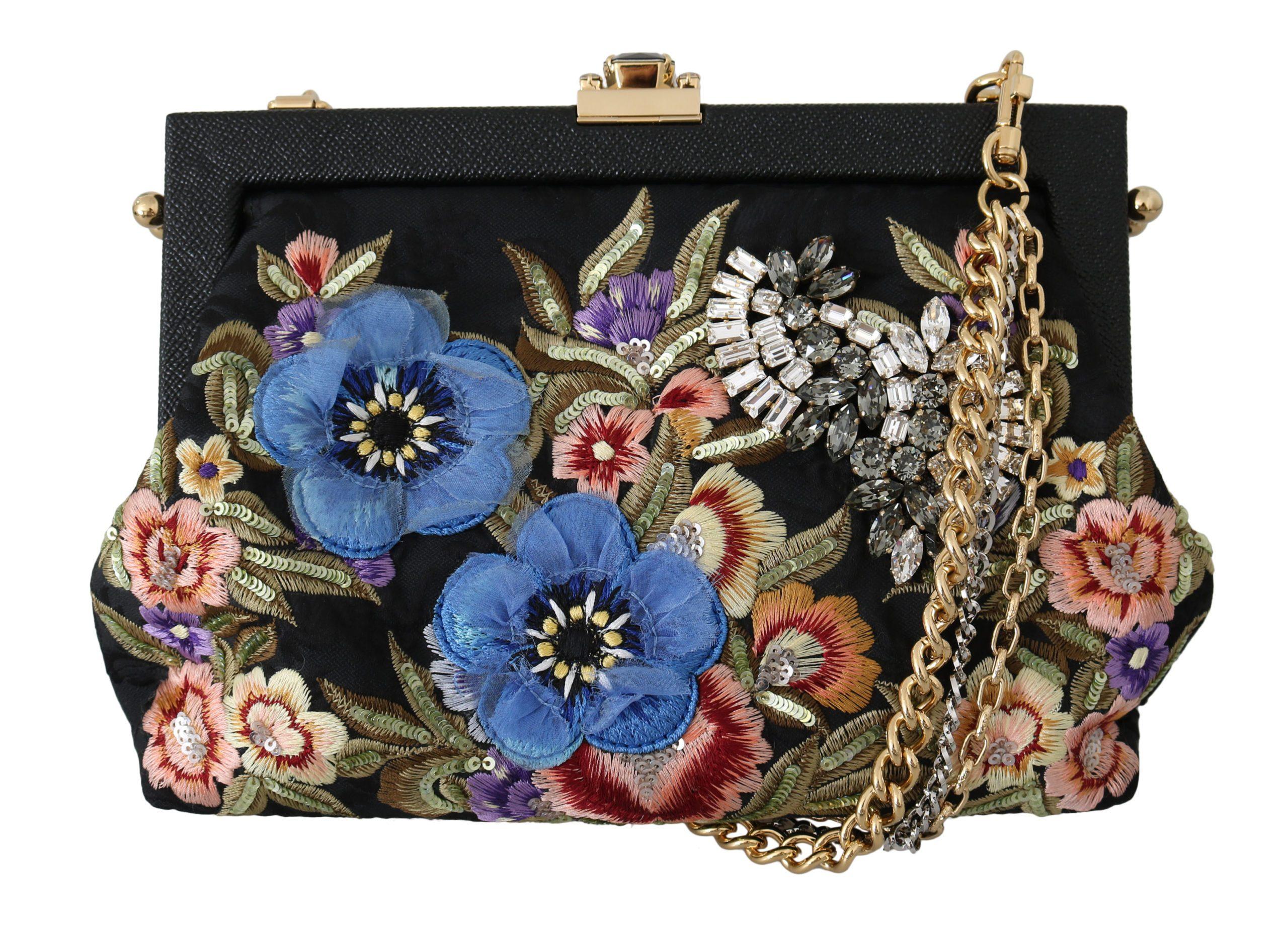 Dolce & Gabbana Women's Floral Embroidered Crystal Shoulder Bag Black VAS8688
