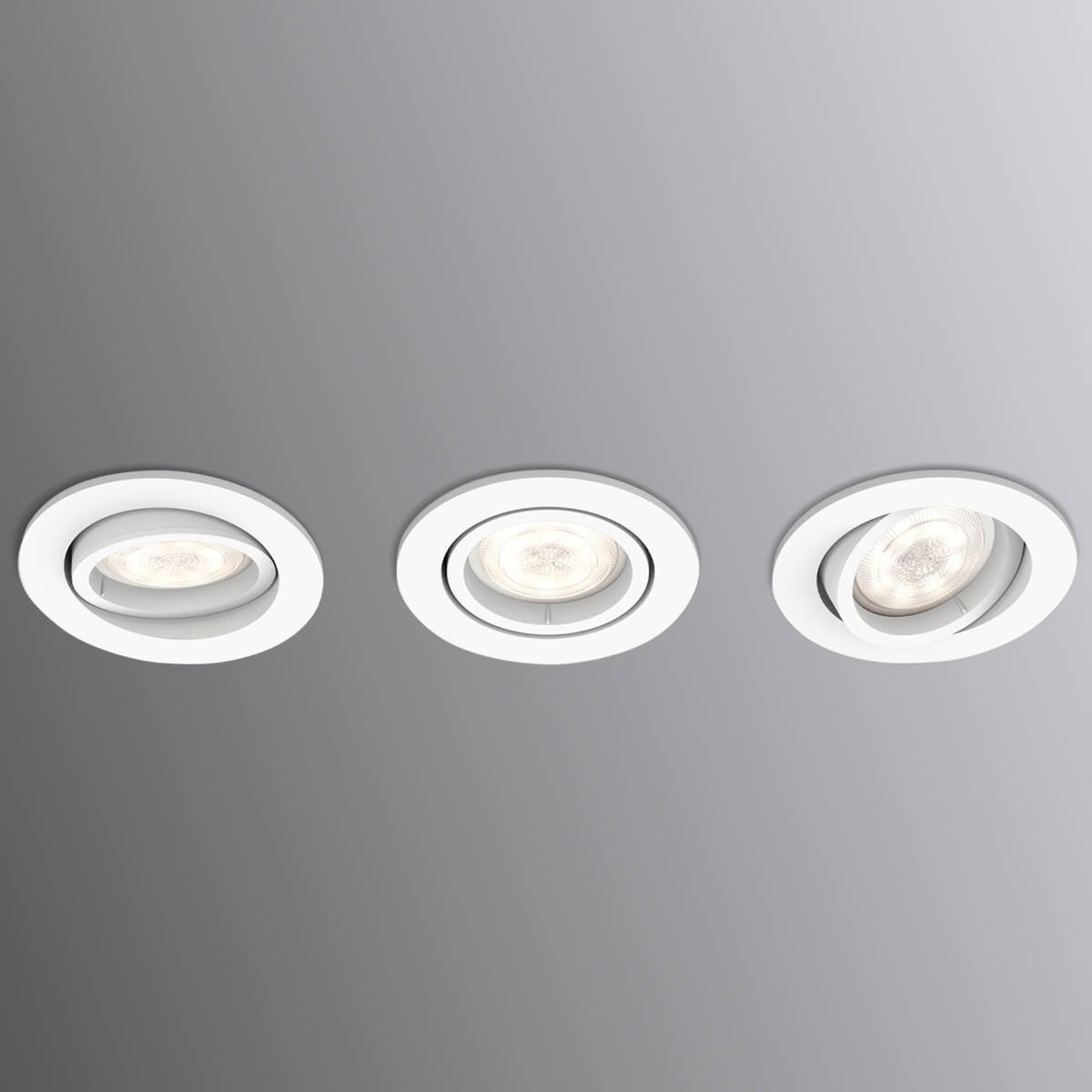 Firkantet LED downlight Shellbark WarmGlow 3er