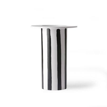 Ceramic Vas black/White striped