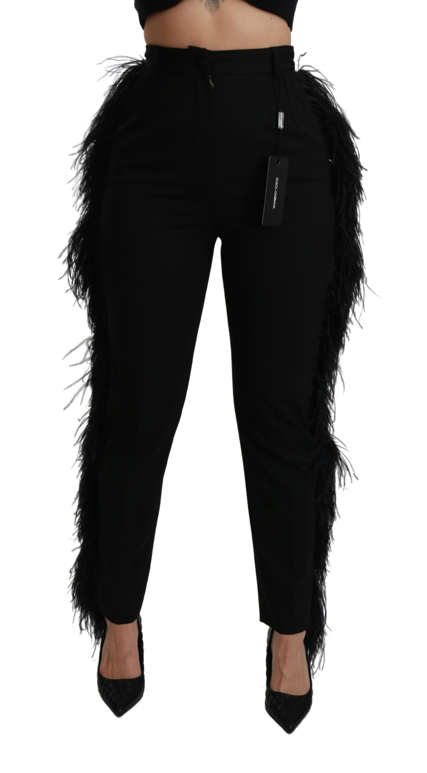 Dolce & Gabbana Feather Straight High Waist Trouser Black PAN70953 - IT40|S