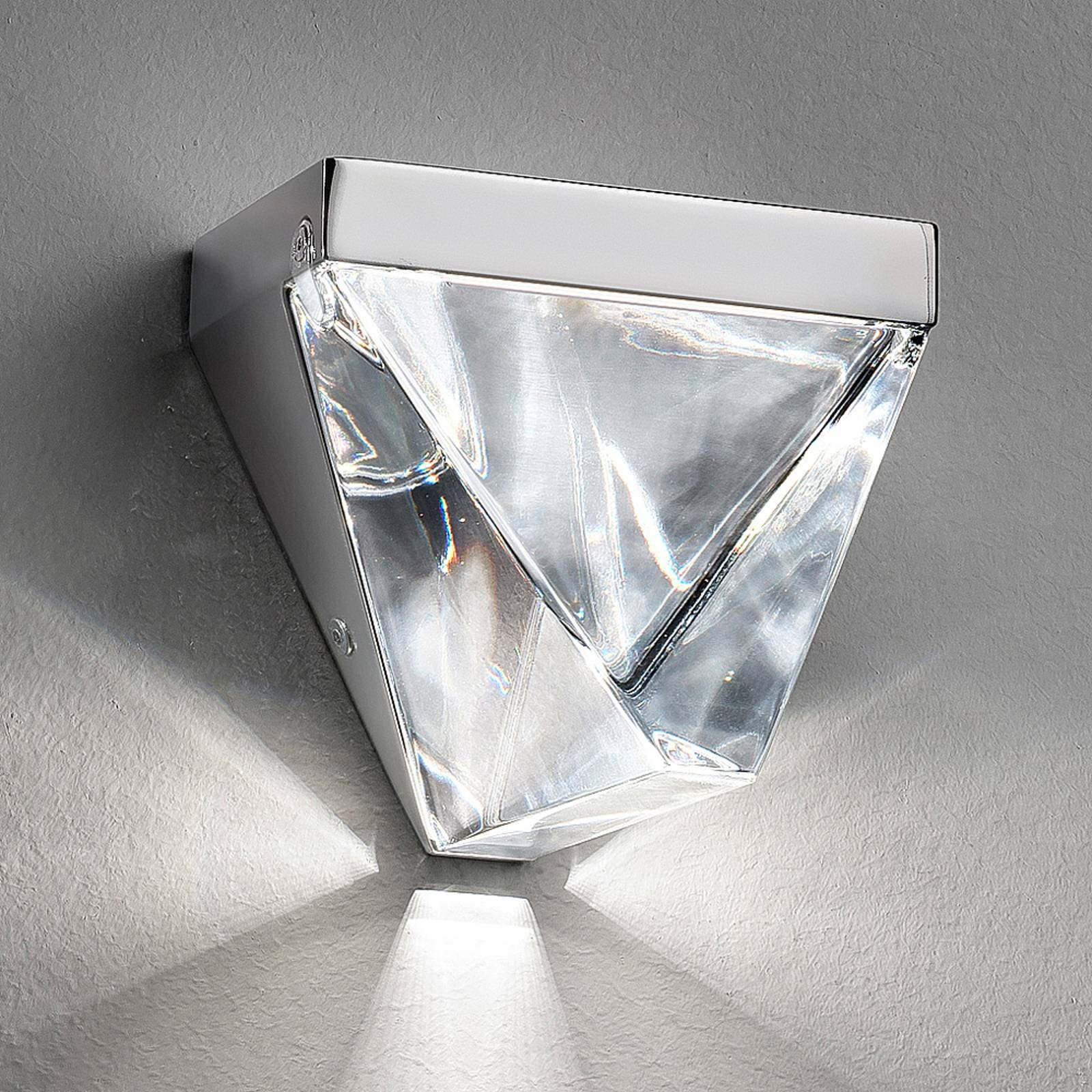 Fabbian Tripla - krystall-LED-vegglampe, alu
