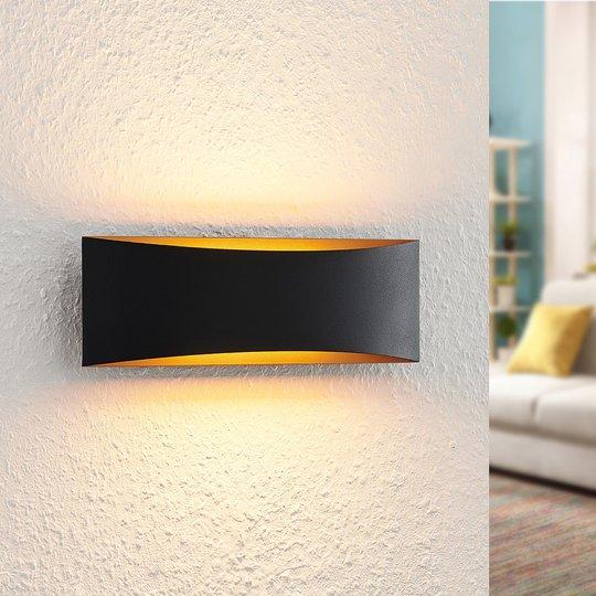 Arcchio Danta LED-vegglampe, svart og gull