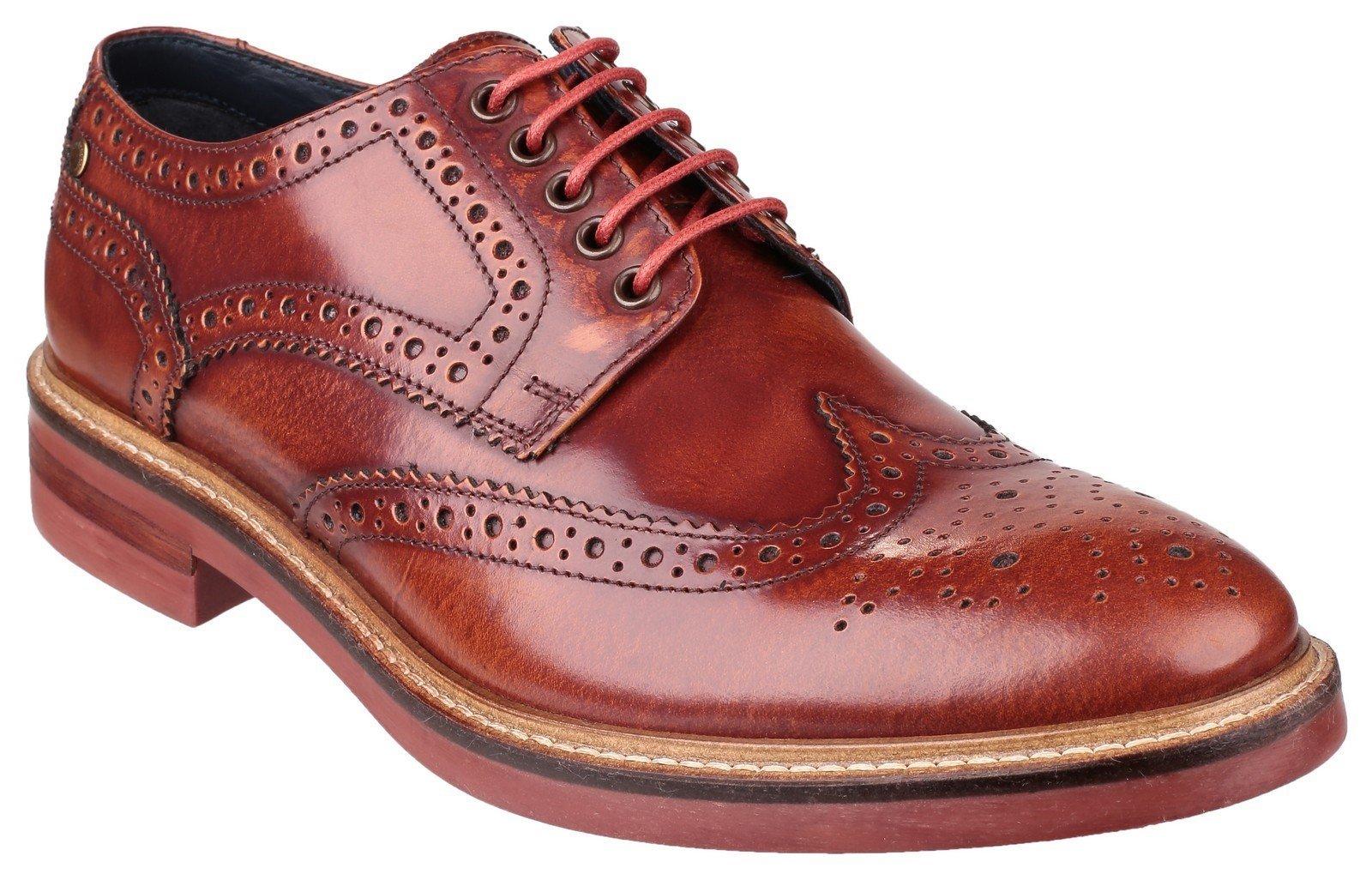 Base London Men's Woburn Hi-Shine Brogue Shoes Tan 23167 - Tan 6