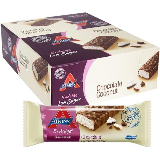 """Laatikollinen Ateriankorvikepatukoita """"Chocolate & Coconut"""" 15x35g - 61% alennus"""