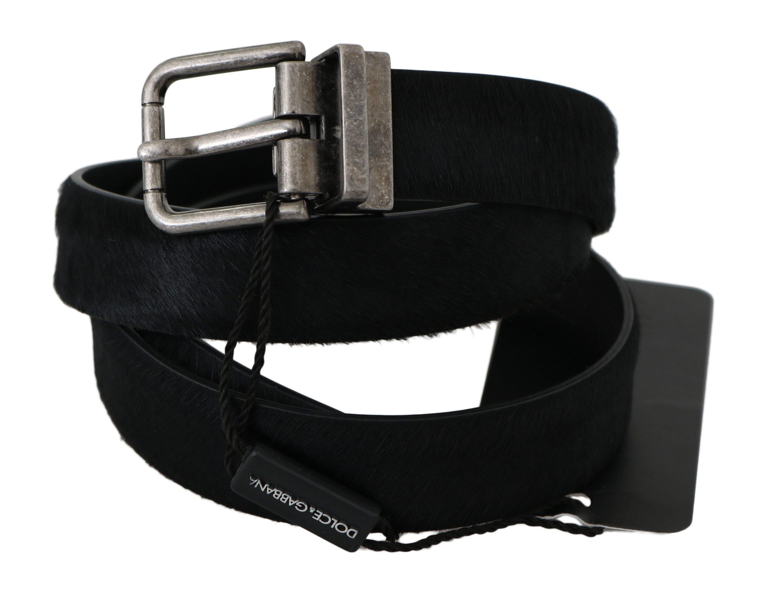 Dolce & Gabbana Men's Fur Leather Buckle Belt Black BEL60324 - 85 cm / 34 Inches