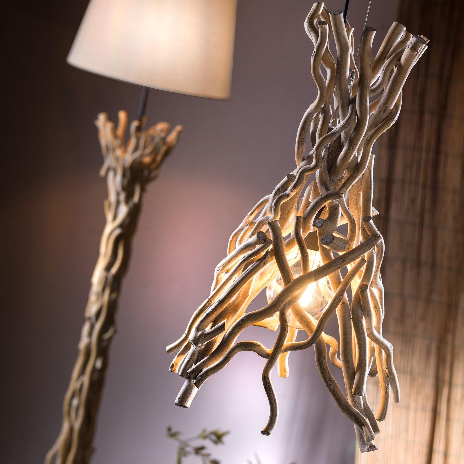 Gulvlampe Agar med stoffskjerm og treelement