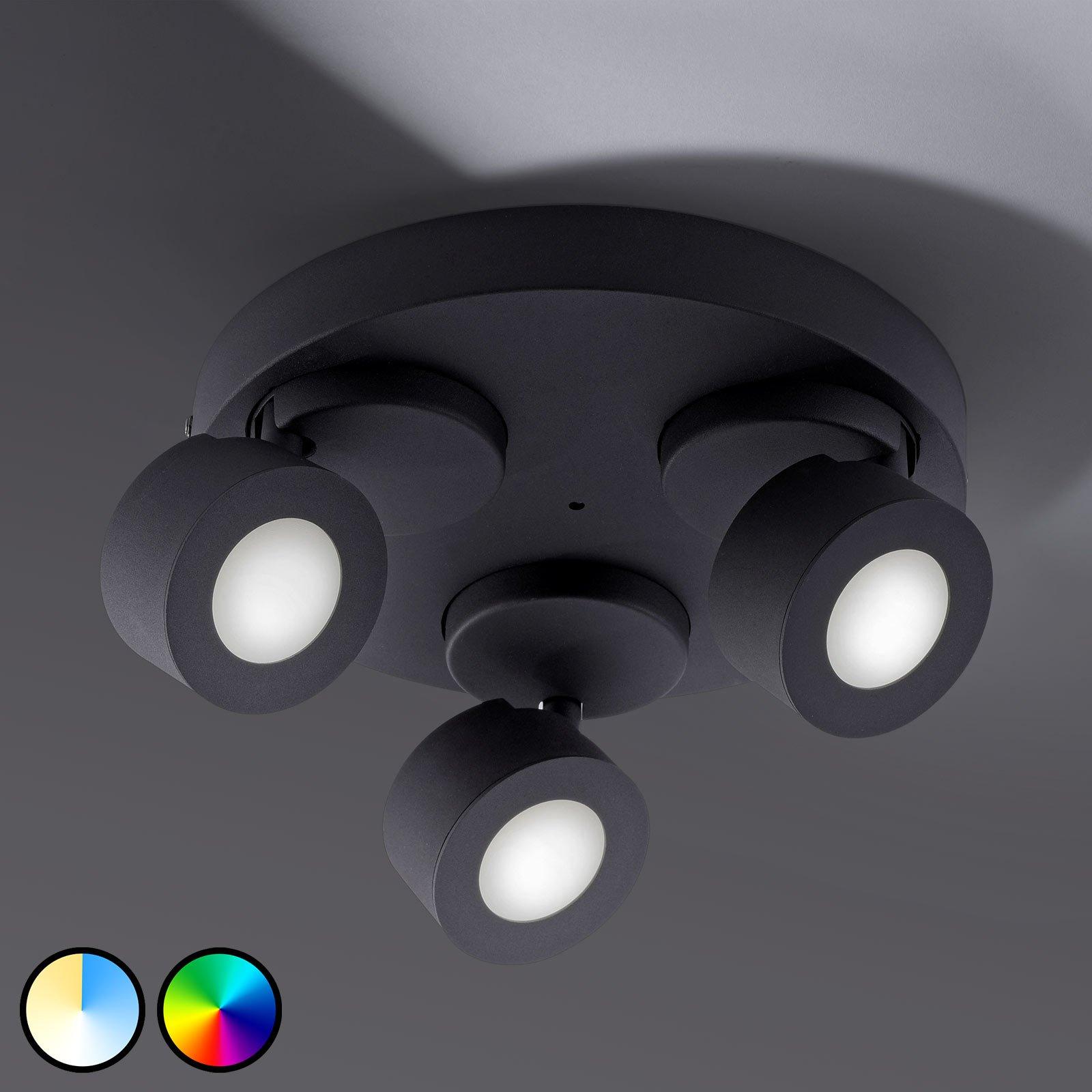 Trio WiZ Sancho LED-taklampe, 3 lyskilder, svart