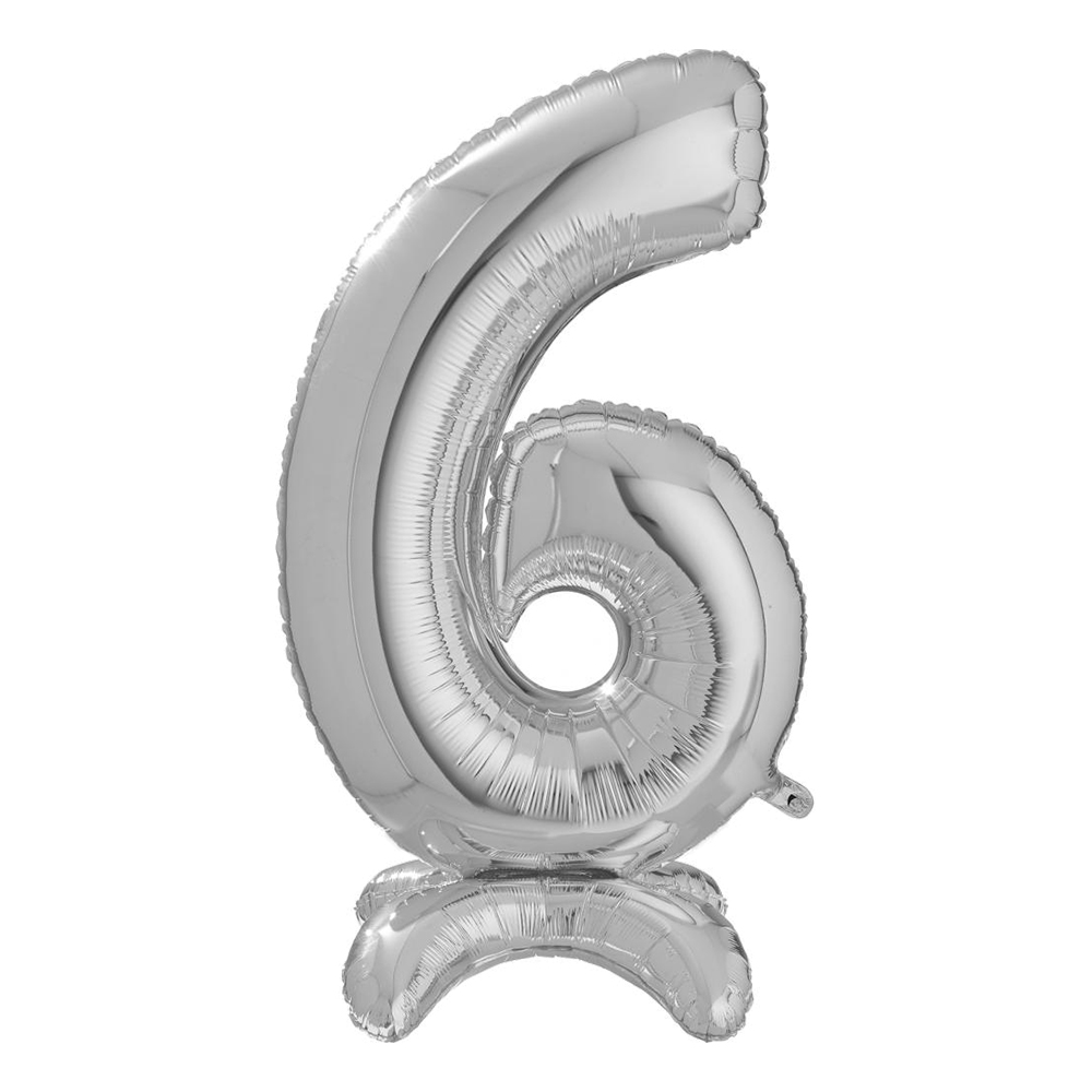 Sifferballong med Ställning Silver - Siffra 6