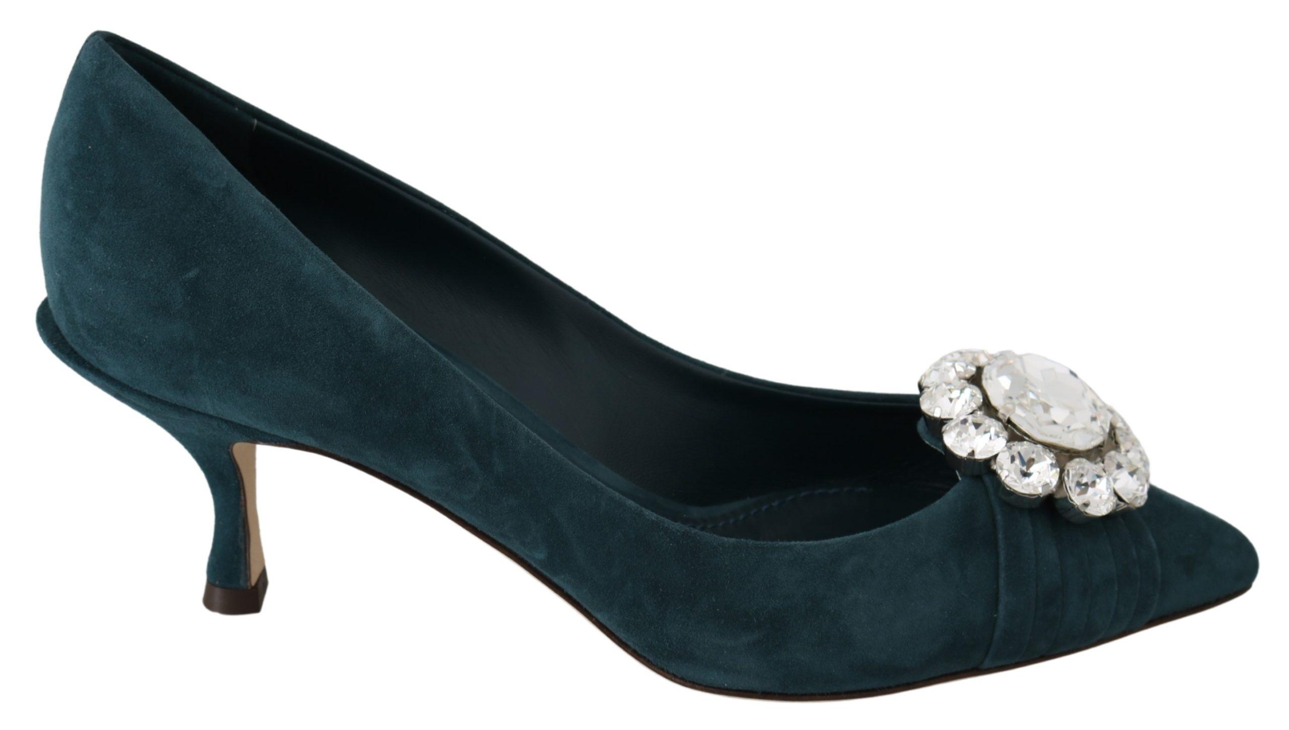 Dolce & Gabbana Women's Suede Crystals Pumps Blue LA7228 - EU39/US8.5