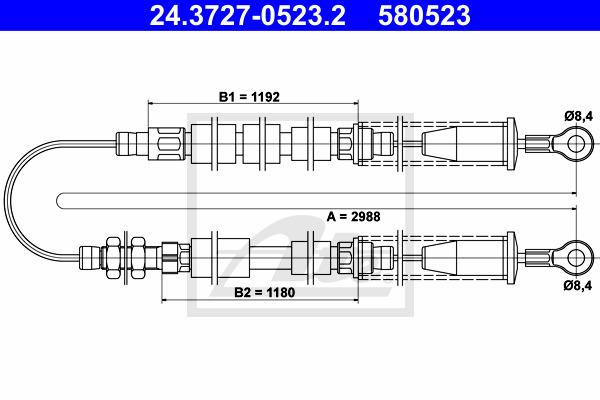 Käsijarruvaijeri ATE 24.3727-0523.2