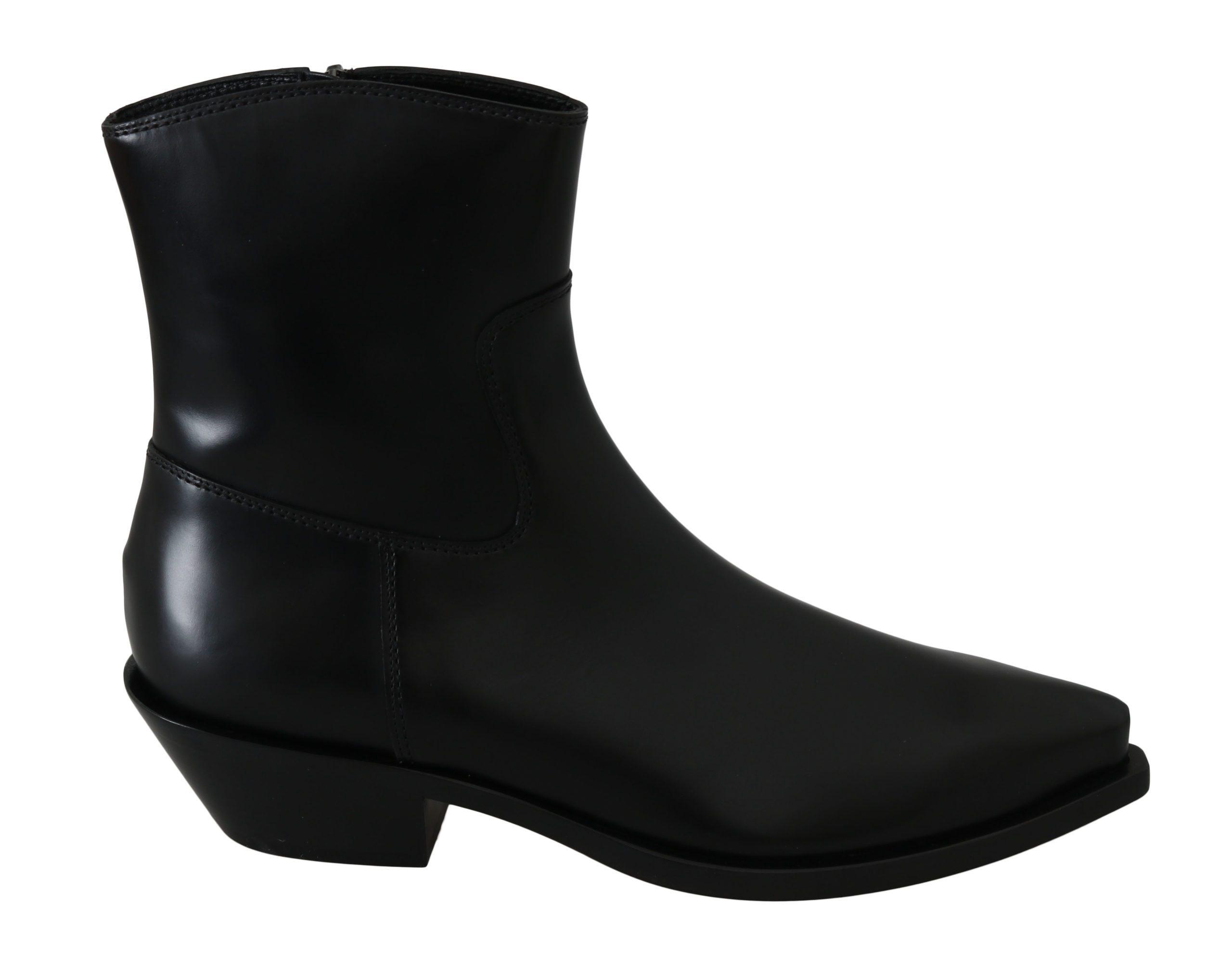 Dolce & Gabbana Women's Leather Ankle High Boots Black LA6305 - EU39/US8.5