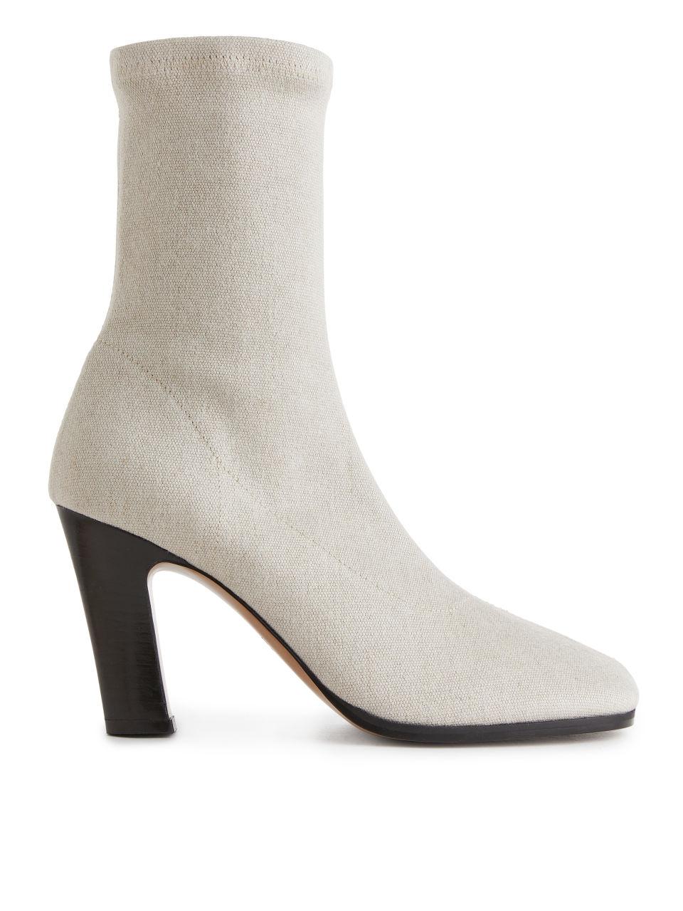 Linen Sock Boots - Beige