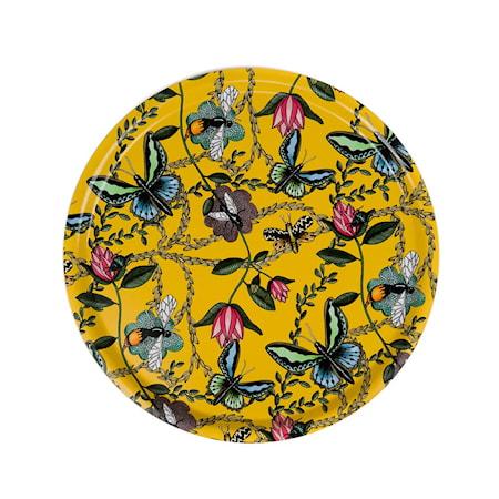 Nadja Wedin Design Bricka 38 cm Bugs & Butterflies Gul