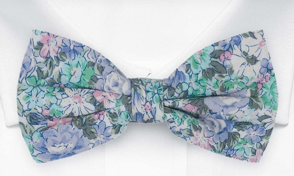 Bomull Sløyfer Knyttede, Blå, grønnturkis, lilla & hvite blomster, Blå, Blomster