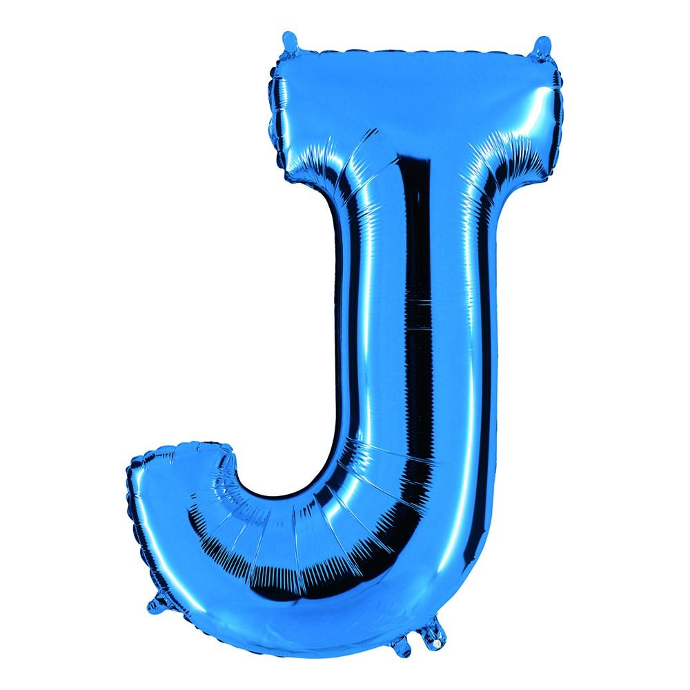 Bokstavsballong Blå Metallic - Bokstav J