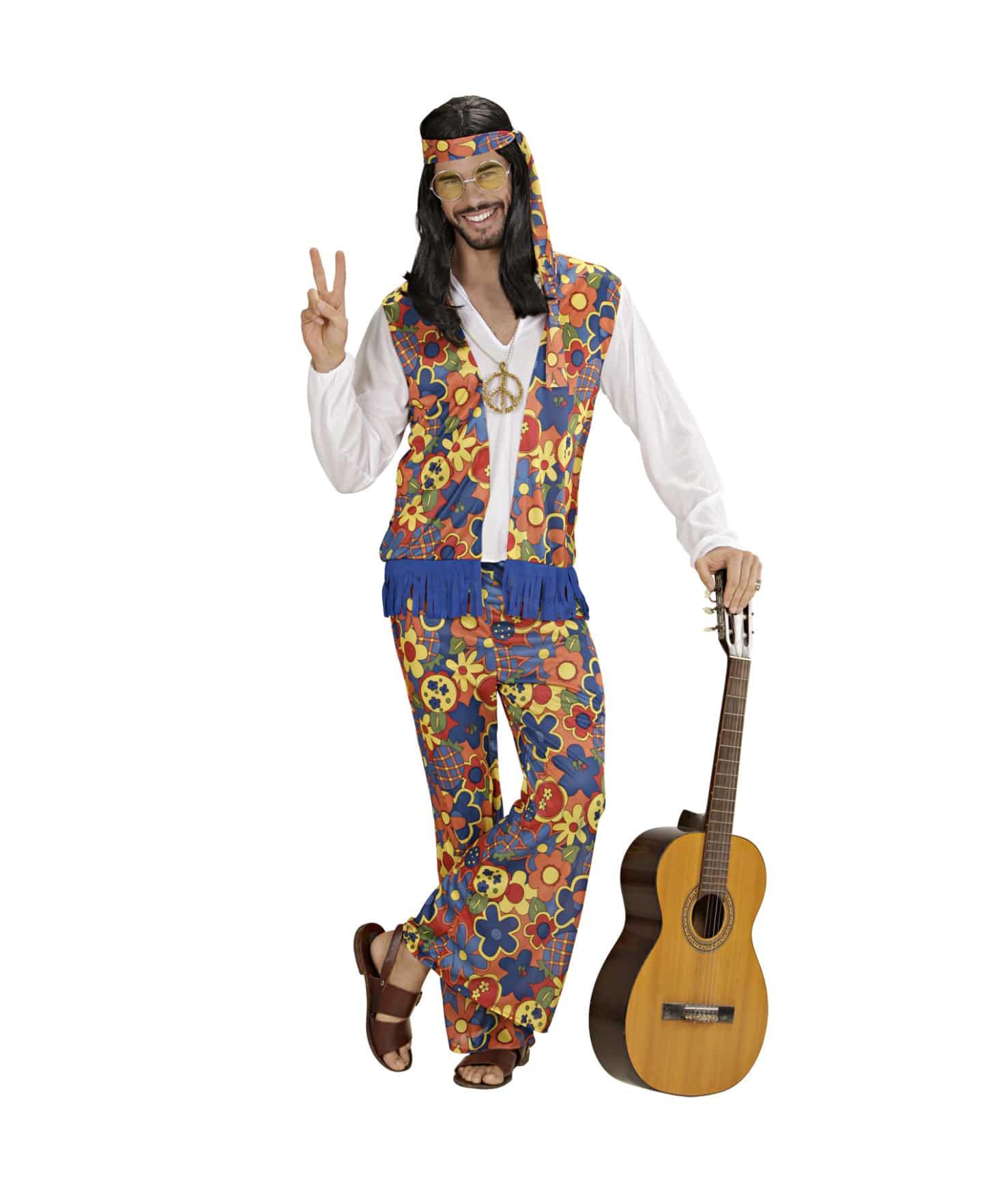 Färgglad hippiedräkt L