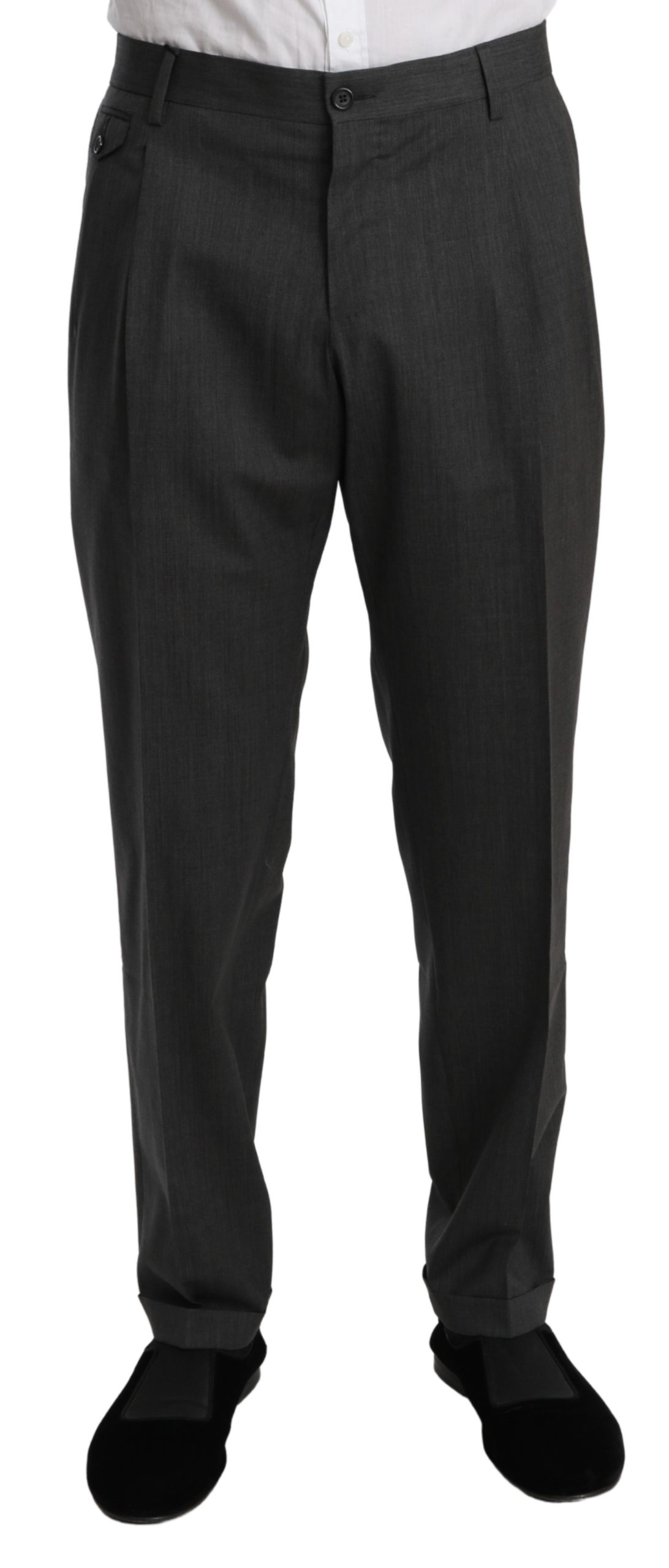 Dolce & Gabbana Men's Formal Dress Stretch Wool Trouser Gray PAN70995 - IT54   XL