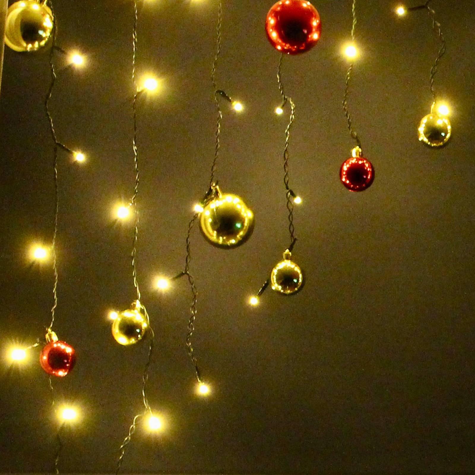 LED-valoverho, punaisen- ja kullanväriset pallot