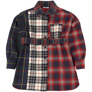 Dolce & Gabbana Mixed Tartan Skjortklänning Röd 4 år
