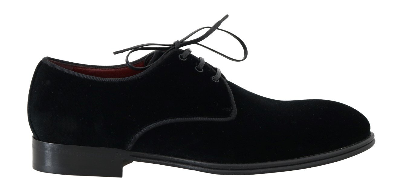 Dolce & Gabbana Men's Velvet Dress Formal Derby Shoes Black MV1687 - EU39/US6