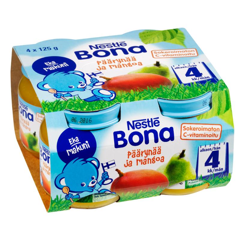 Laatikollinen Lastenruokaa Päärynää & Mangoa 4 x 125g - 50% alennus