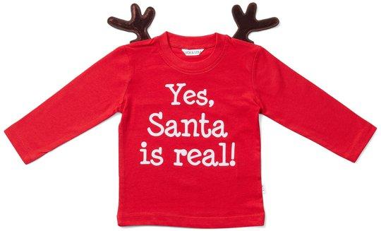 Luca & Lola Baby Langermet T-shirt Santa Is Real Deer, Red 56