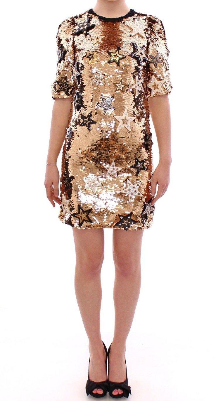Dolce & Gabbana Women's Sequined Crystal Swarovski Dress Yellow GSD12639 - IT36 XXS