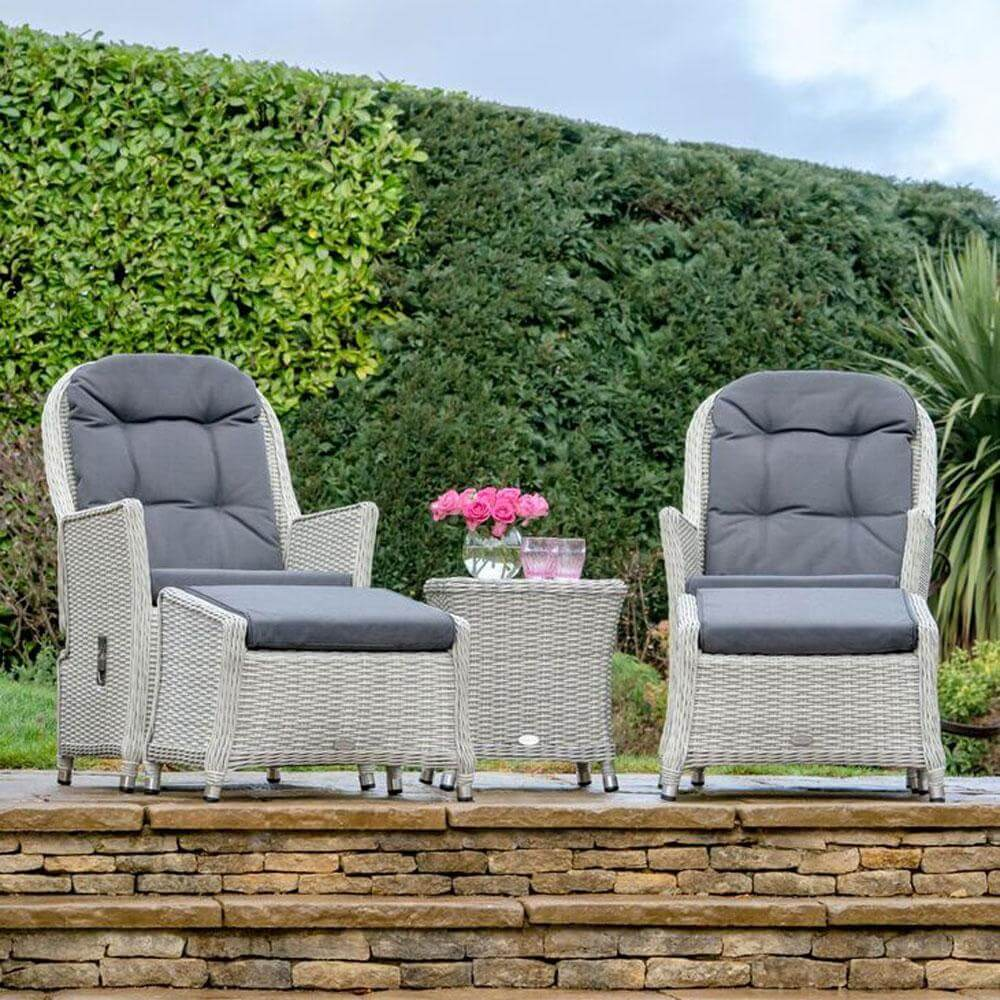 2021 Bramblecrest Monterey Outdoor Reclining Chair Set With Side Table - Dove Grey