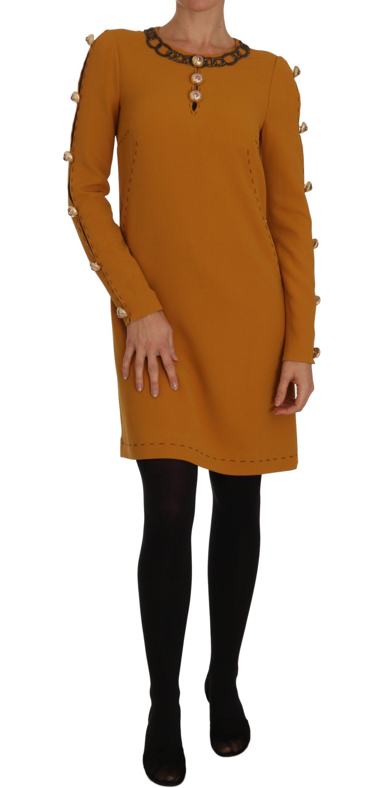 Dolce & Gabbana Women's Mini Crystal Embellished Dress Brown DR1469 - IT40|S