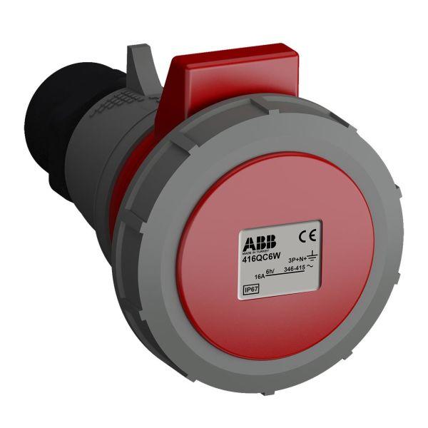 ABB 2CMA102336R1000 Jatkopistorasia pikaliitettävä, tärinänkestävä Punainen, 16 A, 5-napainen, IP67