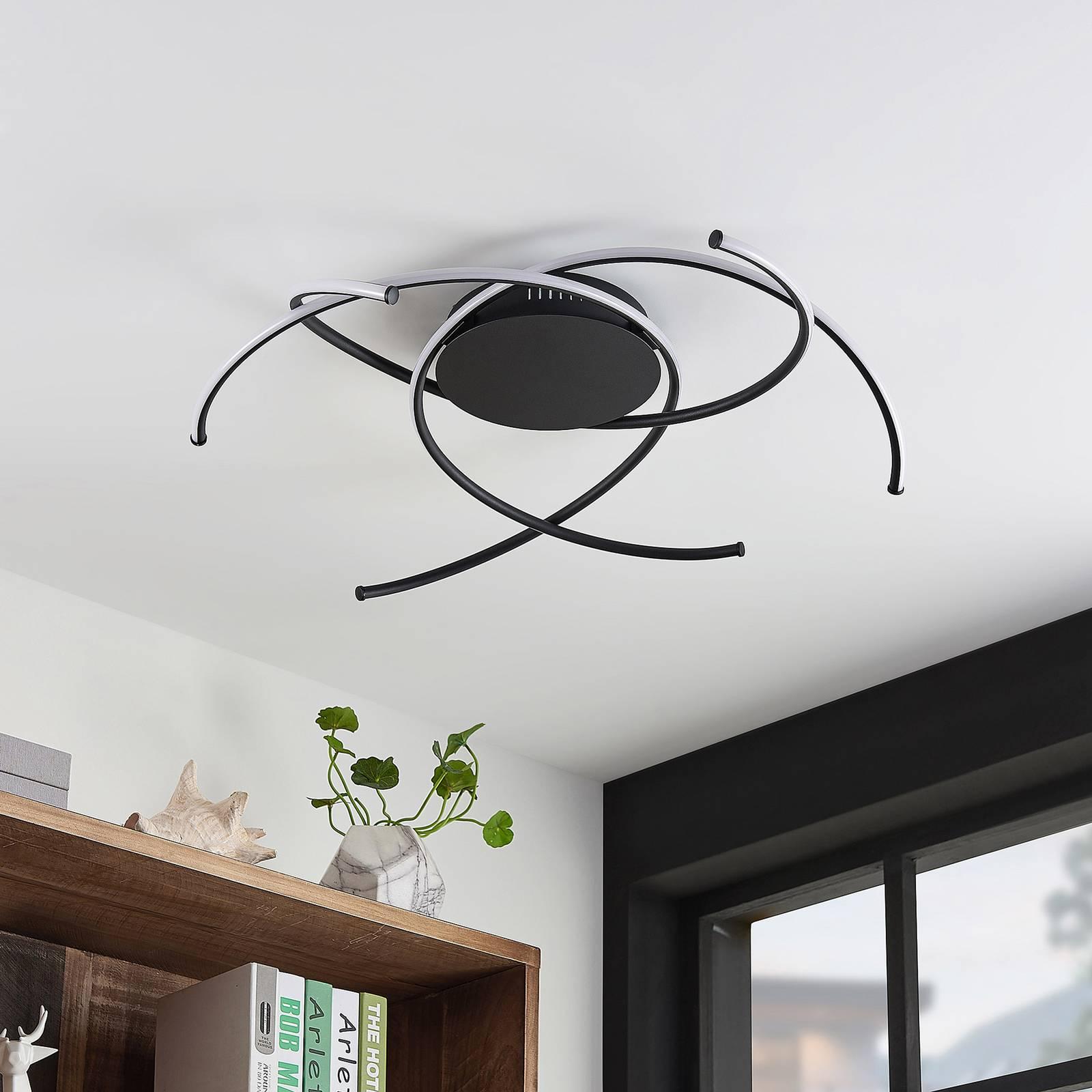 Lindby Yareli -LED-kattovalaisin, hiekanmusta