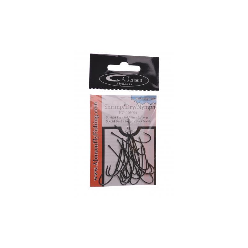 A.Jensen Shrimp/Dry/Nymph #16 20stk - Reke/tørrflue/nymfe-krok