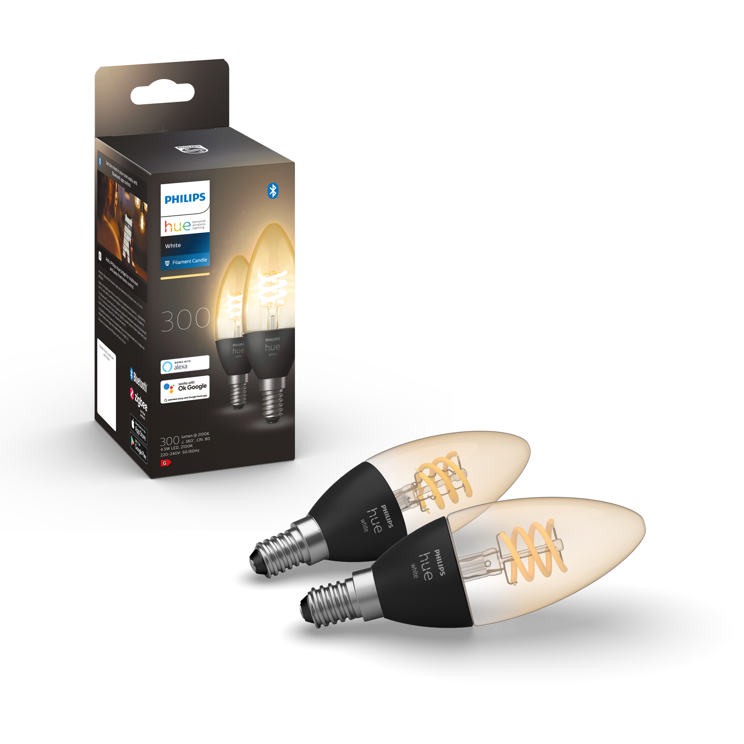 Philips Hue - Filament Candle 2pack E14 - White Ambiance