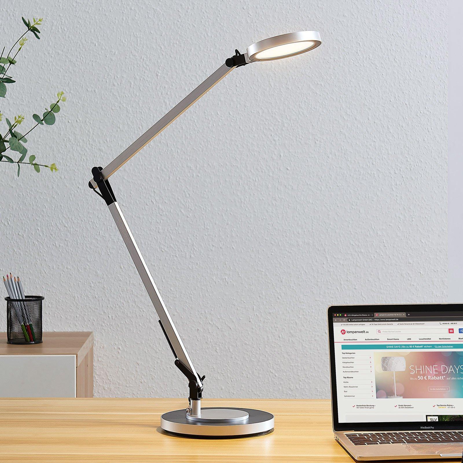 LED-skrivebordslampe Rilana med dimmer, sølvfarget