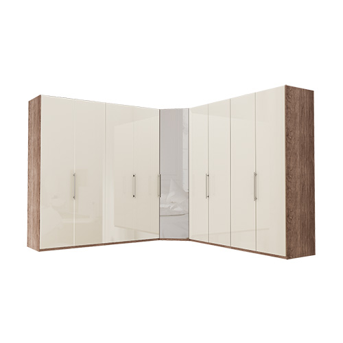 Garderobe Atlanta - Mørk rustikk eik 200 + hjørne + 200, 216 cm